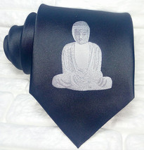 Necktie Luxury black tie Buddha 100% SILK Made in Italy embroidery design  - $21.60