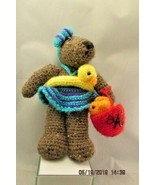 DB  CROCHETED Bear with rubber duckie and fish in bucket plush animal  - $12.19