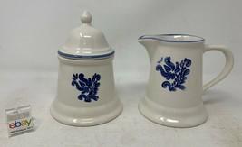 "Pfaltzgraff USA ""Blue Village"" Creamer and Sugar Bowl Set - Nice! - $12.99"