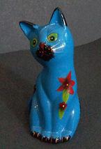"CAT MONEY BANK Coin Piggy Blue Kitten Figurine Ceramic 6"" NEW image 4"