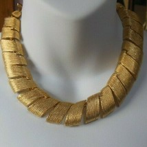 Vintage Signed Vo Wide Textured Panel Link Collar Necklace  - $123.75