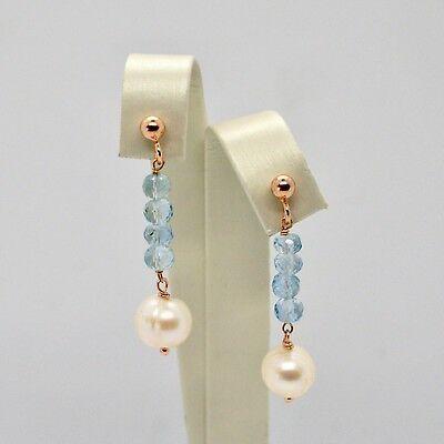 Pendientes Colgantes de Plata 925 Laminado en Oro Rosa con Perlas y Aguamarina