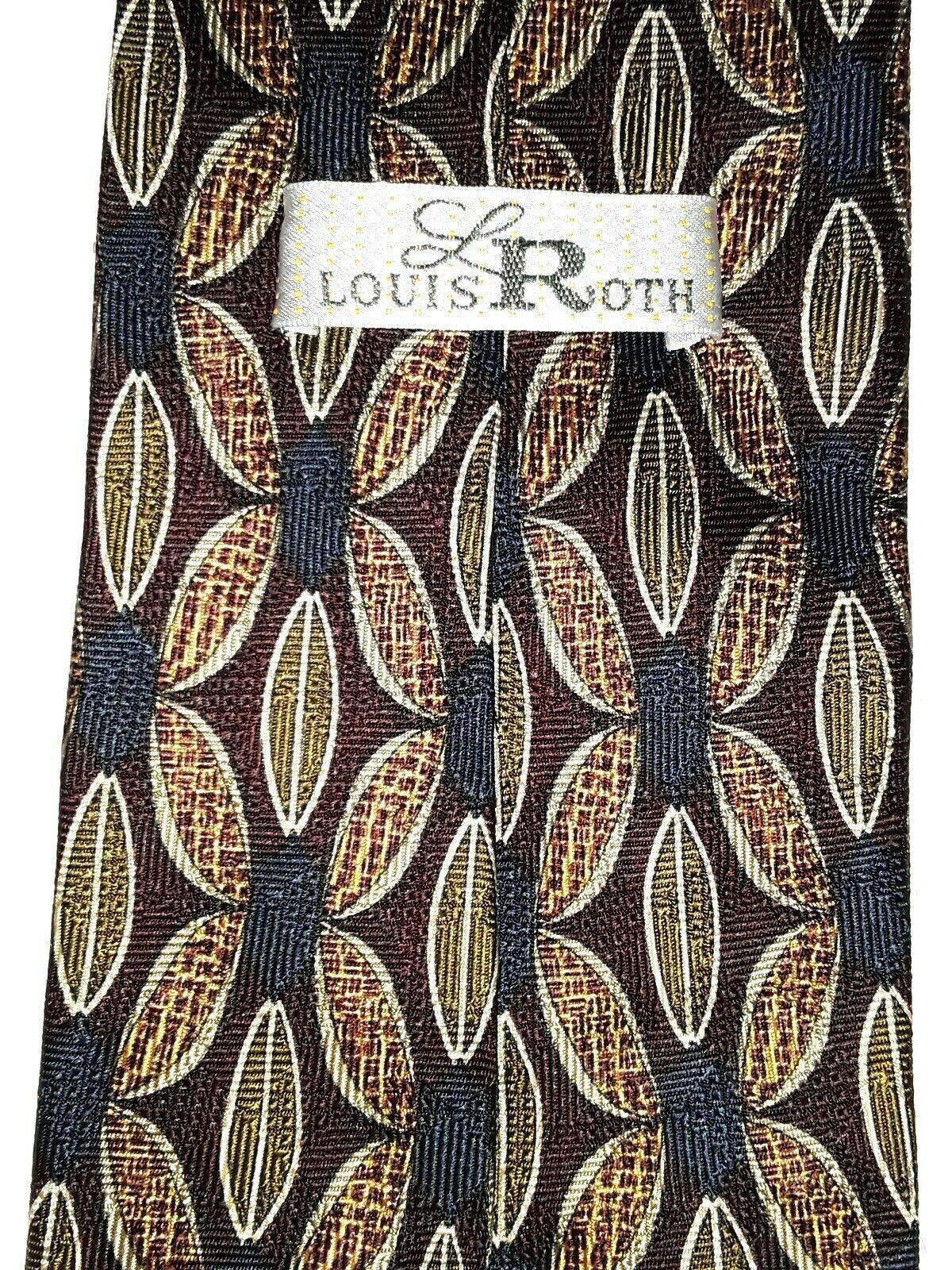 "Louis Roth Men's Tie Necktie 100% Silk Gold Black Burgundy Geometric 59"" x 4"" image 2"
