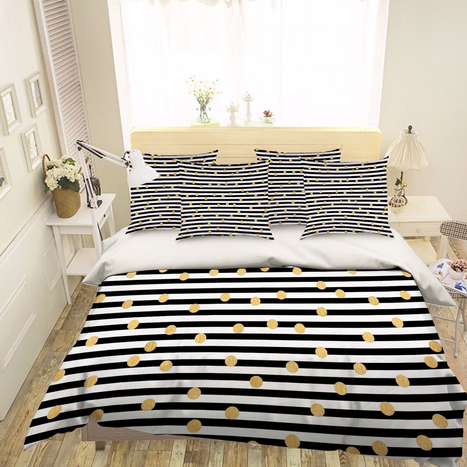 Primary image for 3D Strips Dots 1 Bed Pillowcases Quilt Duvet Cover Set Single Queen King Size AU
