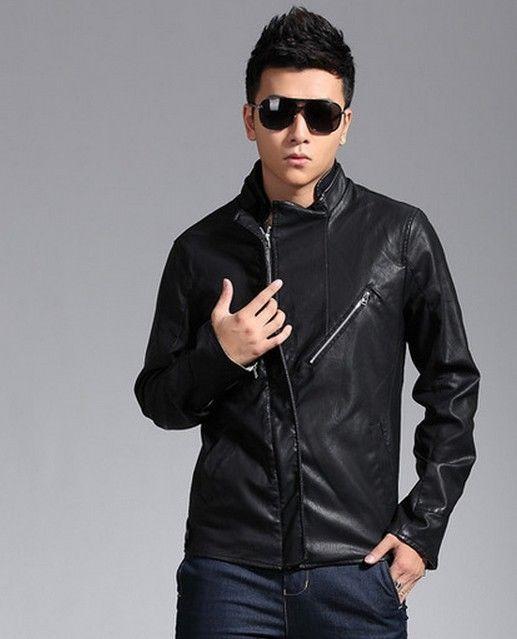 New Men's Genuine Lambskin Leather Jacket  Slim fit Biker Motorcycle jacket-G31