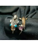 Vintage Turquoise Dolphin & Koi fish & Amethyst Dolphin Sterling Silver ... - $62.37