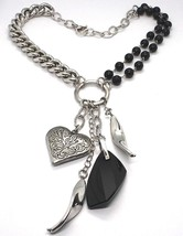 925 silver necklace, double row onyx, heart chain bangle, worked image 1