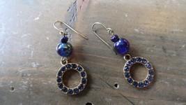 Vintage Gold Tone Blue Stone Iridescent Bead Earrings 4cm - $14.84
