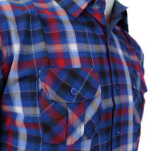 Overdrive Men's Cotton Plaid Button Up Casual Short Sleeve Slim Fit Dress Shirt image 4