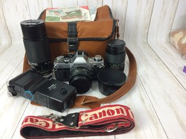 Canon AE-1 camera set Canon FD50mm 1:1.8, total 3 lenses and Case Free S... - $186.99