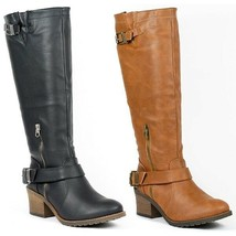 Faux Leather Double Buckle Strap Round Toe Knee High Riding Boot Qupid Pompeo-13 - $24.99