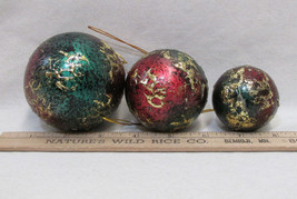 3 Christmas Ornaments  Multi-Colored Ball Gold Green Red Silver Differen... - $11.87