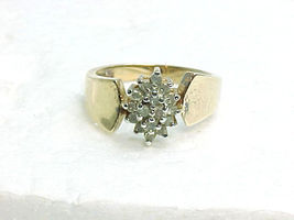 DIAMOND RING set in Yellow Gold on Sterling Silver -16 Round DIAMONDS -S... - $145.50