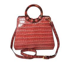 Women's Embossed Faux Crocodile Pattern Handbag Vegan Textured Leather Purse image 10