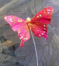 Gold Glittered Butterfly Decor w/ Wire for Floral arraignments House Plants - $5.04