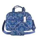 NEW Vera Bradley BLUE TAPESTRY Print Cotton Medium Traveler Weekender Bag - $80.09