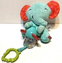 Fisher Price Little Nuzzler Blue Red Elephant Plush Rattle Vibrating Pul... - $13.59