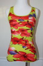 FREE PEOPLE X-Small Ribbed Lime Tank Tropical Floral EUC Womens Nordstrom - $11.87