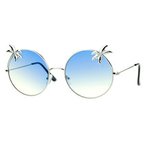 Super Flat Lens Sunglasses Thin Metal Round Circle Frame Palm Trees - $9.95