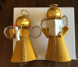 Pair of Vintage Christmas Angel Decorations Tree Toppers Gold Yellow Felt - $22.49