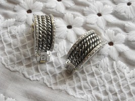 Vintage Clip Earrings Heavy Silver Plated Rope Look Edged In Tiny Sparkl... - $9.50