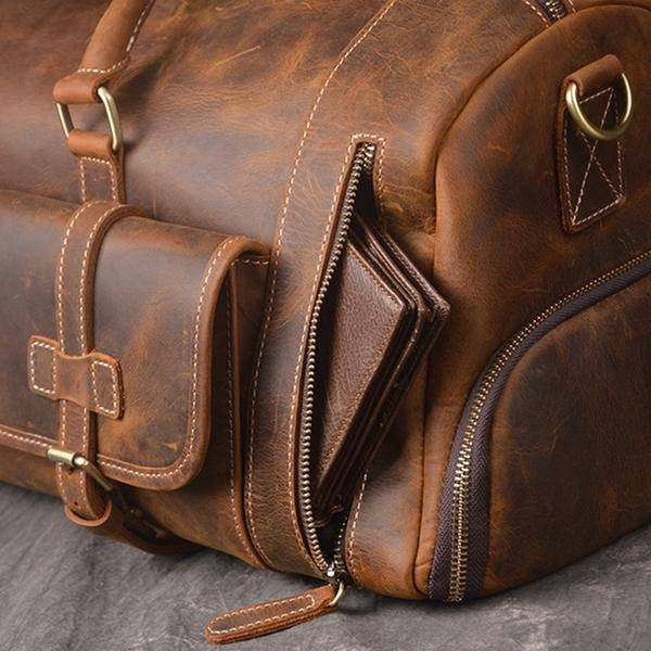 On Sale, Handmade Leather Luggage Bag, Vintage Weekend Bag, Travel Bag image 6