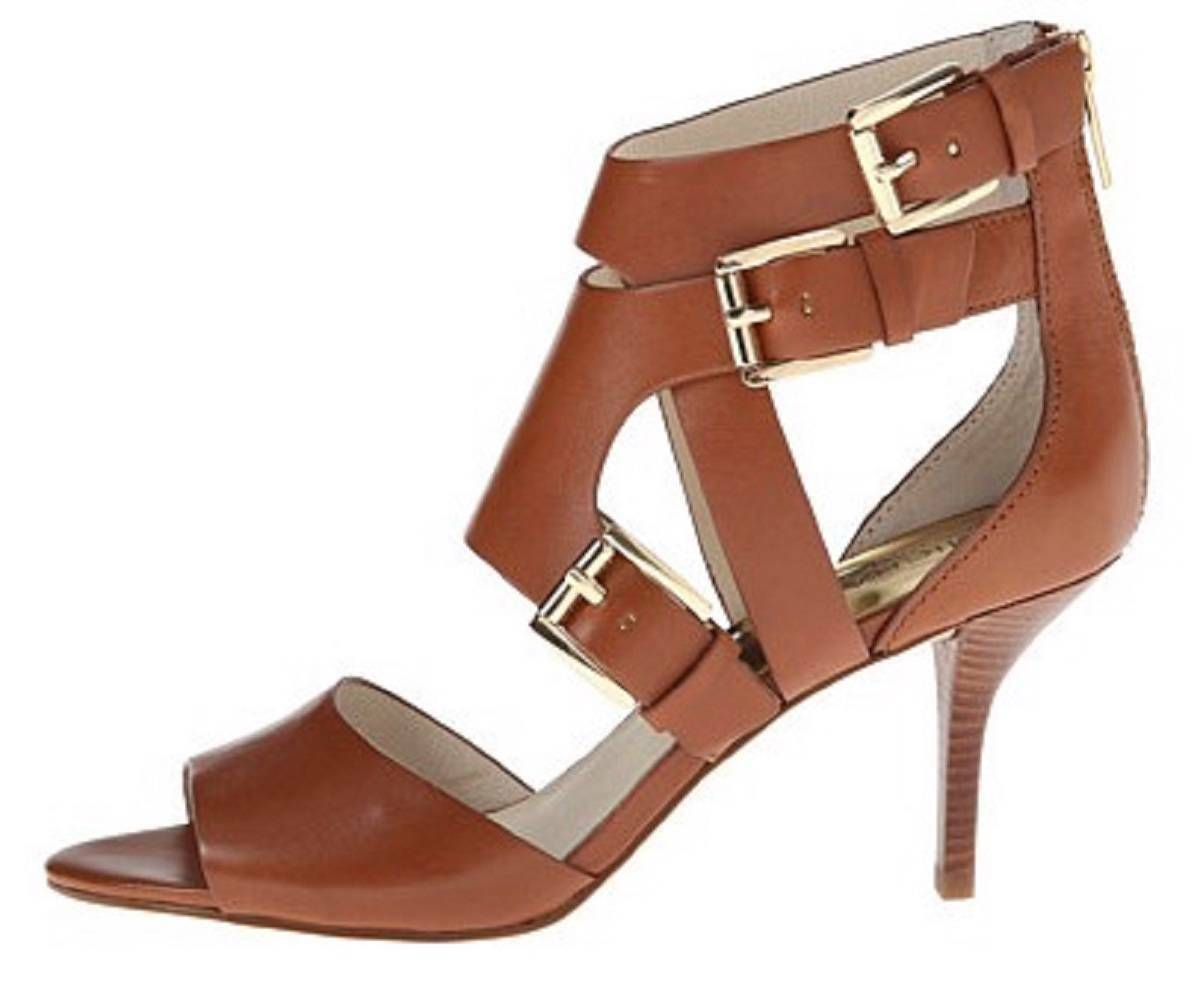 Women's Michael Kors LUCINDA OPEN TOE Heels Sandals Leather Black or Luggage image 3