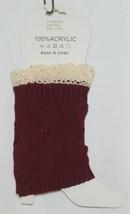 Bijorca  BT264X103J3 Leg Warmer Maroon Cream Lace 100 percent Acrylic image 2