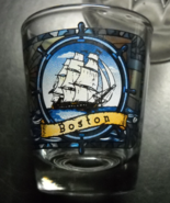 Boston Shot Glass Yankee Clipper Lighthouse Stained Glass Look on Clear ... - $6.99