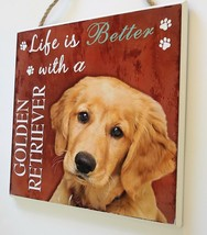 DOG LOVER PLAQUE Life is Better with a Golden Retriever 8x8 Wooden Pet Wall Art image 3