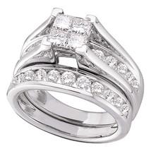 14k White Gold Princess Diamond Bridal Wedding Engagement Ring Set 3.00 Ctw - $4,998.00