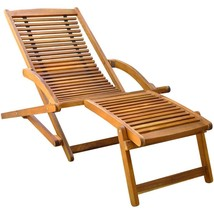 Wood Sun Lounger Foldable Garden Lawn Deck Chair With Footrest Pool Furn... - $134.88
