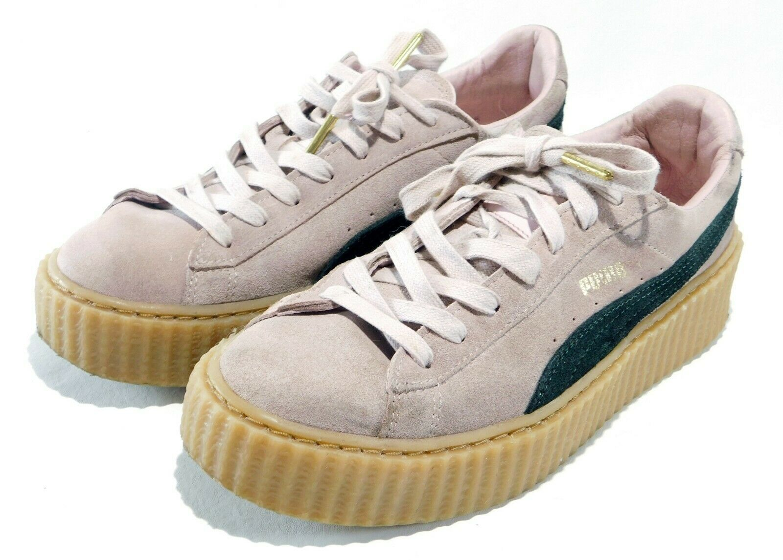Puma by Rihanna Creepers in pink and green suede with  gum sole Women's Size US9 - $39.59