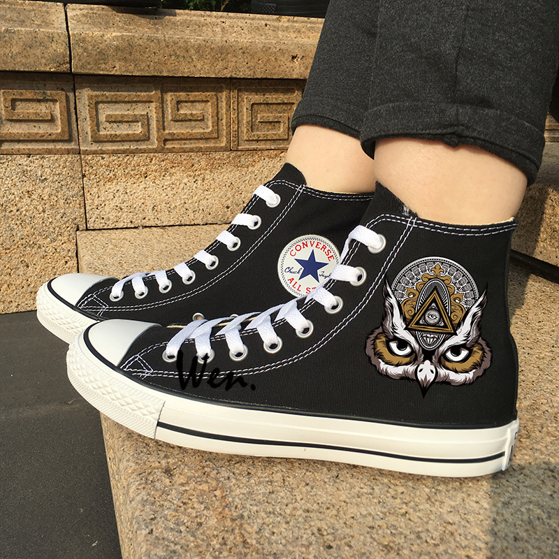 bd82cacafbcf Img 1 50. Img 1 50. Previous. Men Women Sneakers Design Totem Eagle Canvas  Shoes Black Converse All Star