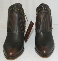 Lucky And Blessed SH 11 Dark Brown Leather Boots Fringe Metal Studs Size 6 image 2