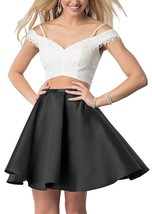 Off Shoulder Lace 2 Piece Homecoming Dresses Short Satin Prom Dress Part... - $98.99