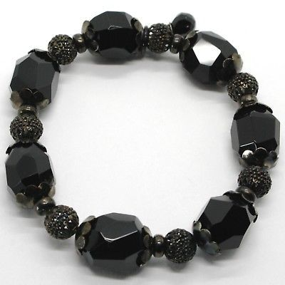 925 STERLING SILVER BURNISH ELASTIC BRACELET WITH BLACK ONYX NUGGETS AND SPHERES