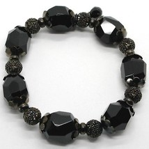925 STERLING SILVER BURNISH ELASTIC BRACELET WITH BLACK ONYX NUGGETS AND SPHERES image 1