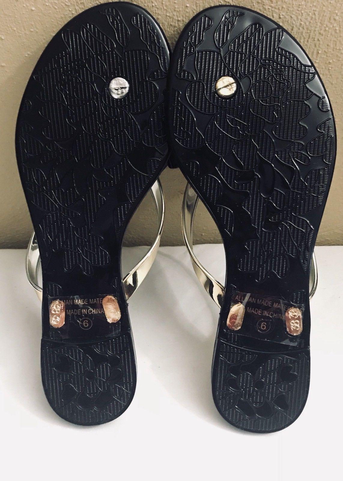 18a1a0f3736b Wild Diva Lounge Black Gold Rhinestone Thong Jelly Sandals Women s Size 6