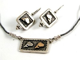 14K Gold & Sterling Silver Fish Pieced Earrings & Matching Necklace - $123.74