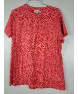Coldwater Creek Womens T Shirt Size Large Red Floral Round Neck Short Sl... - $25.88