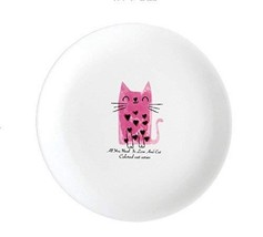 Gentle Meow 8 Inch Creative Cartoon Ceramic White Round Dishes, Red Kitten - $19.14