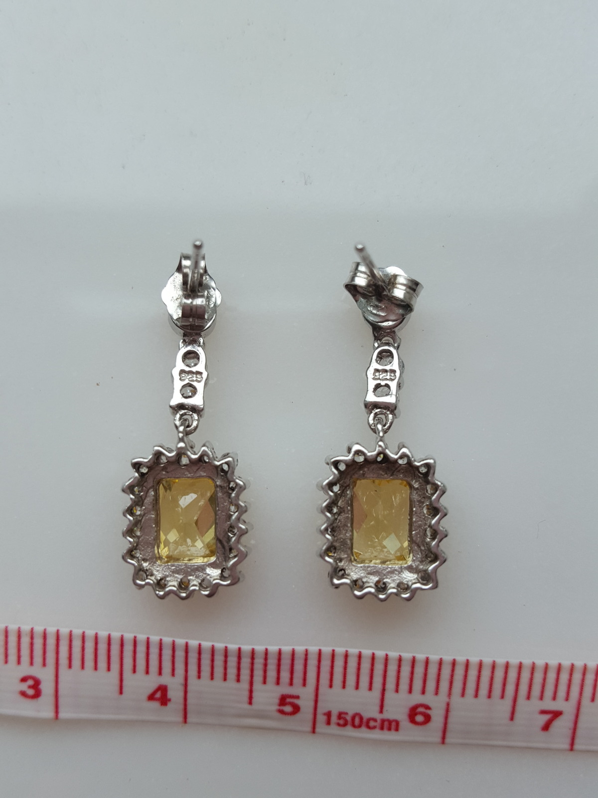 YELLOW CANARY & CLEAR CUBIC ZIRCONIA STERLING SILVER EARRINGS