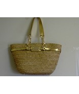 Woman's MICHAEL KORS Hamilton natural Straw Large Chain Tote Handbag NWT - $217.75