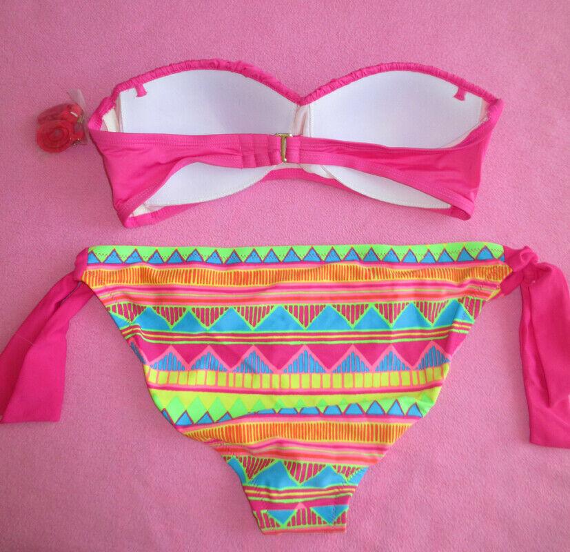 Xhilaration Push Up Padded Ruched Bra Bandeau Top Smocked Bikini Swimsuit S/M image 2