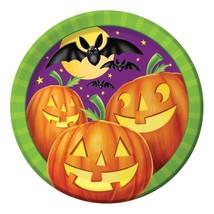 """Pumpkin Shine 8 Ct 9"""" Dinner Lunch Plates Halloween Party Bats - $2.84"""