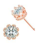 CZ Stud Earrings For Women – 18k Rose Gold Plated Crown Cubic Zirconia E... - $15.09