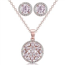 Flower Round Pendant Necklace Earrings set Best Christmas Jewelry Gifts - $71.97