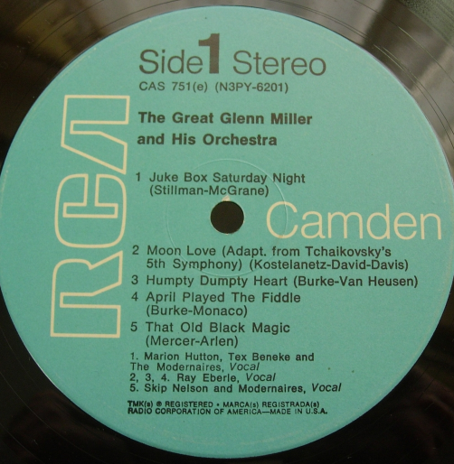 The Great GLENN MILLER & His Orchestra - RCA/Camden CAS-751 (e)