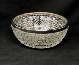 Beautiful Vintage Crystal Cut Glass Bowl  Silverplated Rim  England 10.5... - £43.17 GBP
